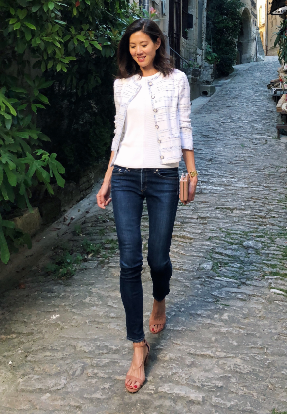 Charissa Fay wearing jeans and Saint John Pacific Space Dyed Jacket