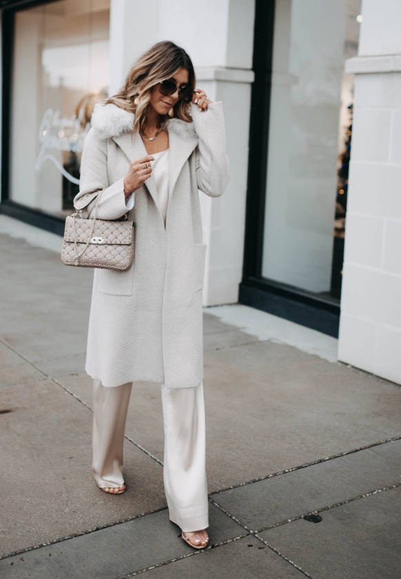 Becky Hillyard in Saint John Quilted Twill Jacquard Knit Coat and Liquid Satin Tank and Pant
