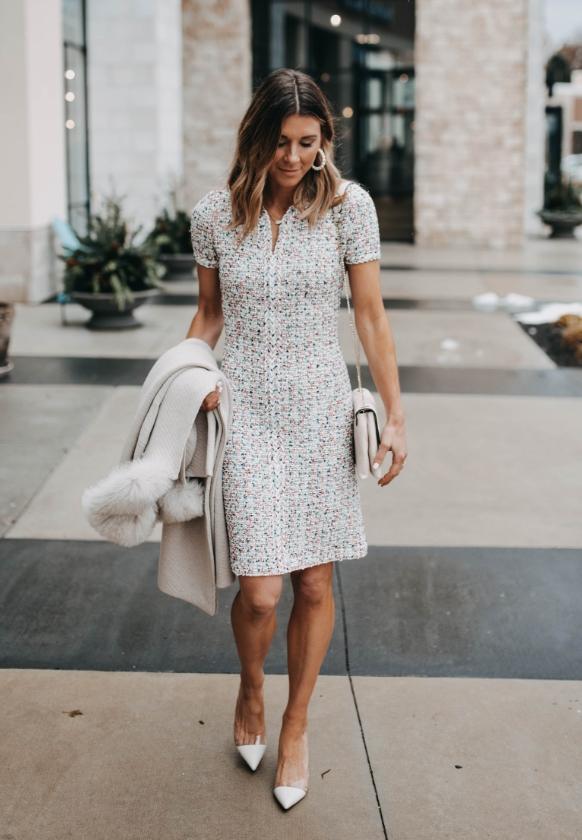 Becky Hillyard in Saint John Modern Pointale Knit V-Neck A-Line Dress
