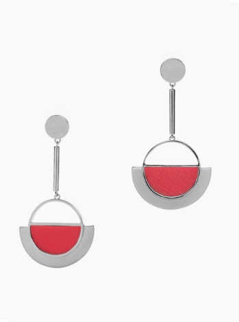 Metal and Leather Drop Earrings