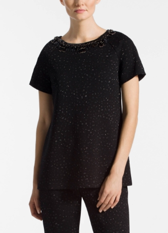 Blister Knit Metallic Jacquard Top