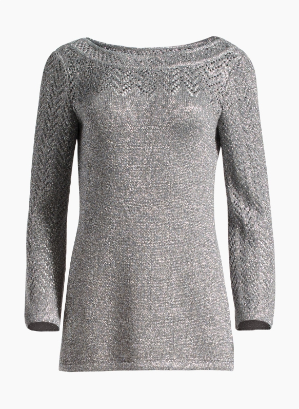 Eyelet Chevron Metallic Knit Sweater