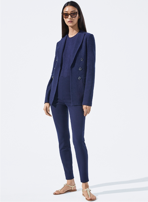 Ana Boucle Knit Blazer in Navy