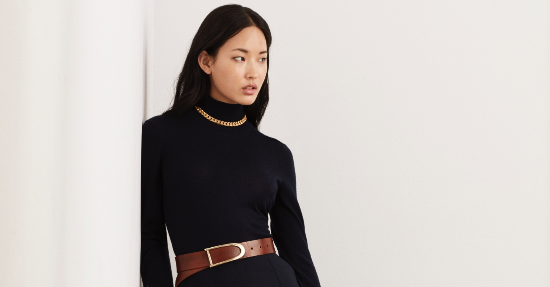 Wool Jersey Knit T-Neck Sweater