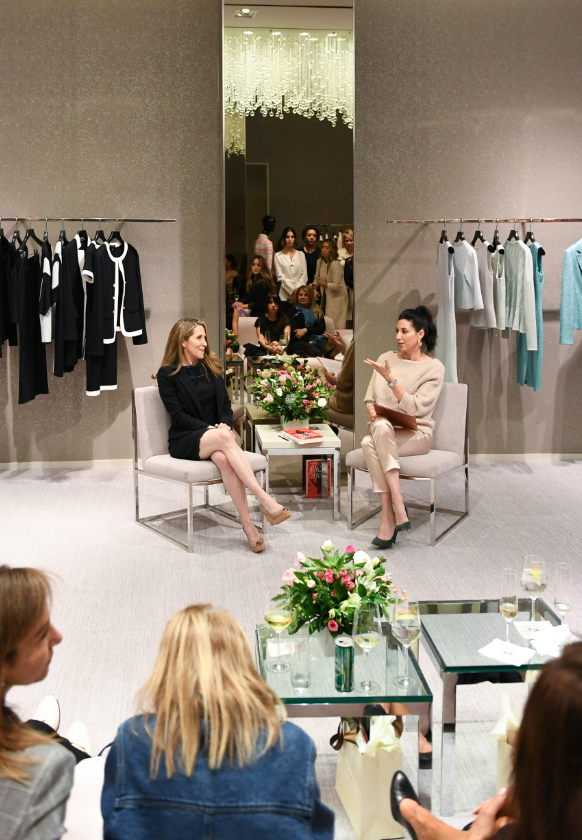 Jessica Yellin talking with Erin at Beverly Hills Saint John boutique