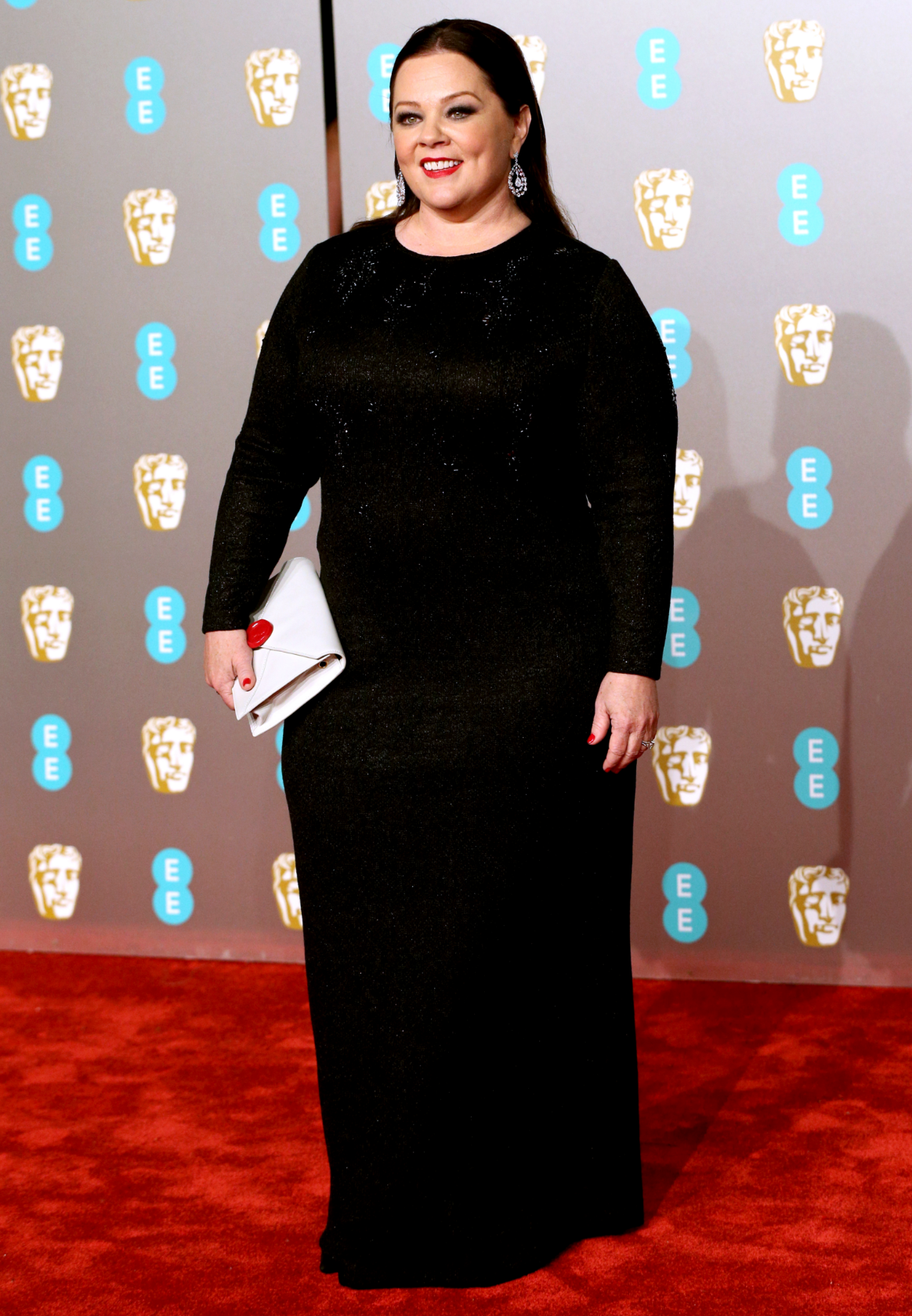 Melissa McCarthy wearing the Saint John Lace Overlay Jacquard Knit Gown