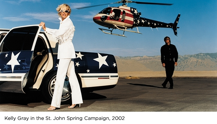 Kelly Gray in Saint John 2002 Spring Campaign wearing all white