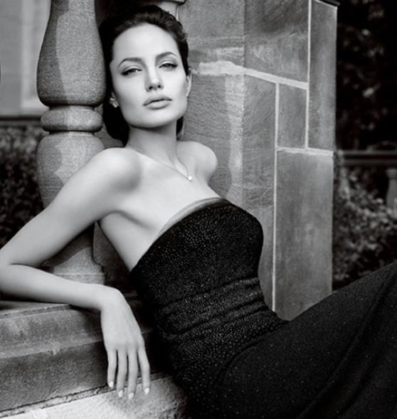 Angelina Jolie wearing Saint John in an advertisement