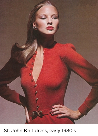 Model wearing red Saint John knit dress in the early 1980s