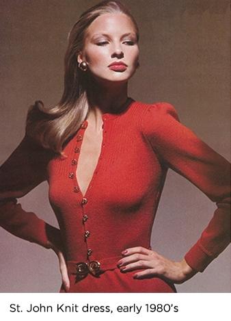Model wearing red Saint John knit dress in the early 1980s