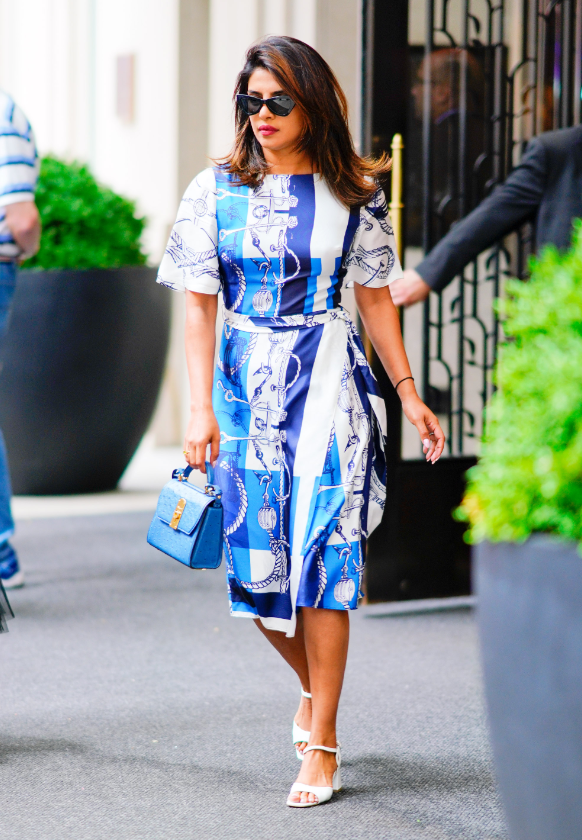 Priyanka Chopra wears the Saint John Resort 2020 Mariner Scarf Print Dress