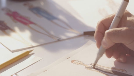 Designer sketching a look