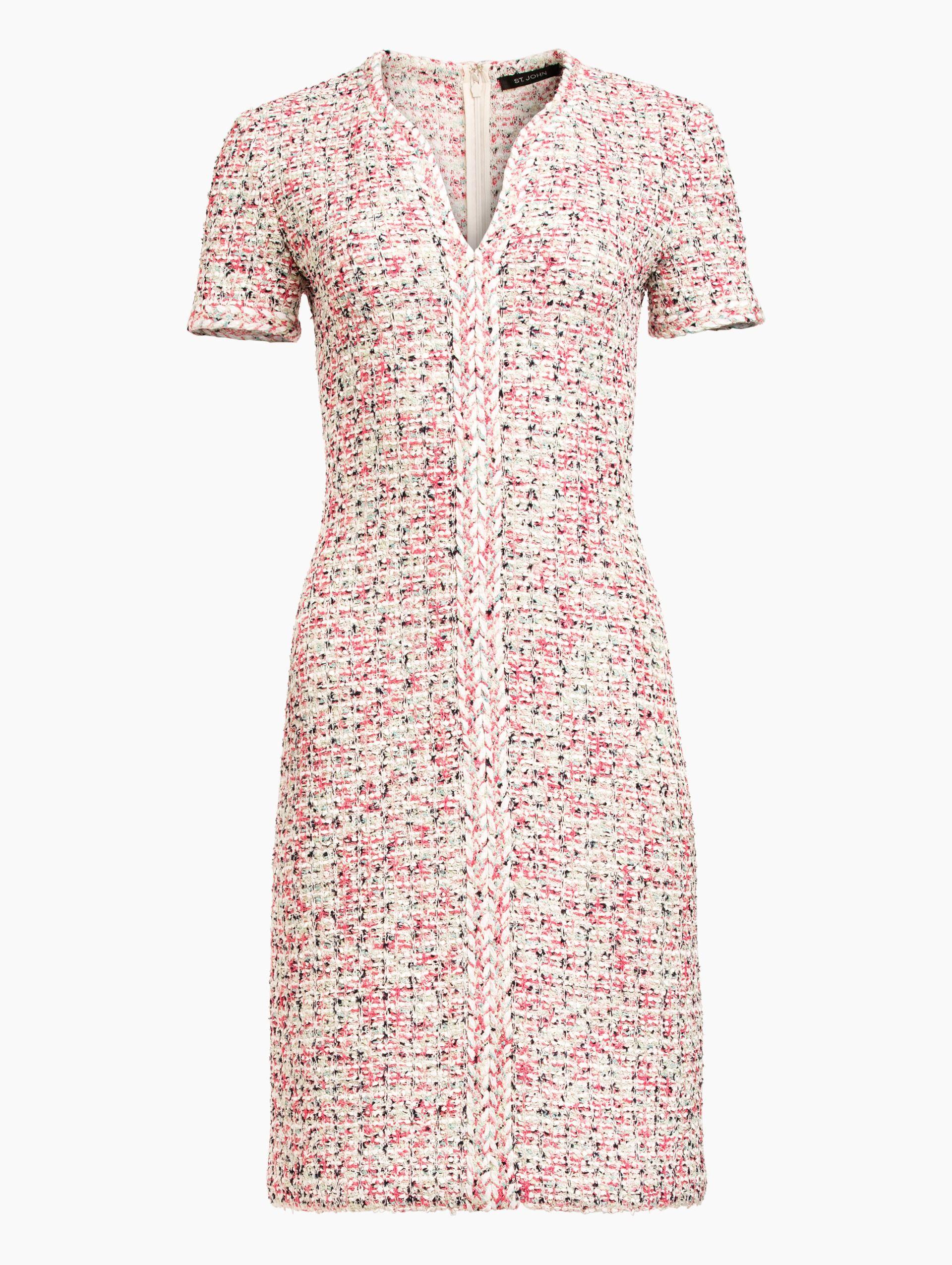 Saint John Modern Pointale Knit V-Neck A-Line Dress