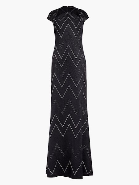 Saint John Metallic Knit Halter Neck Gown