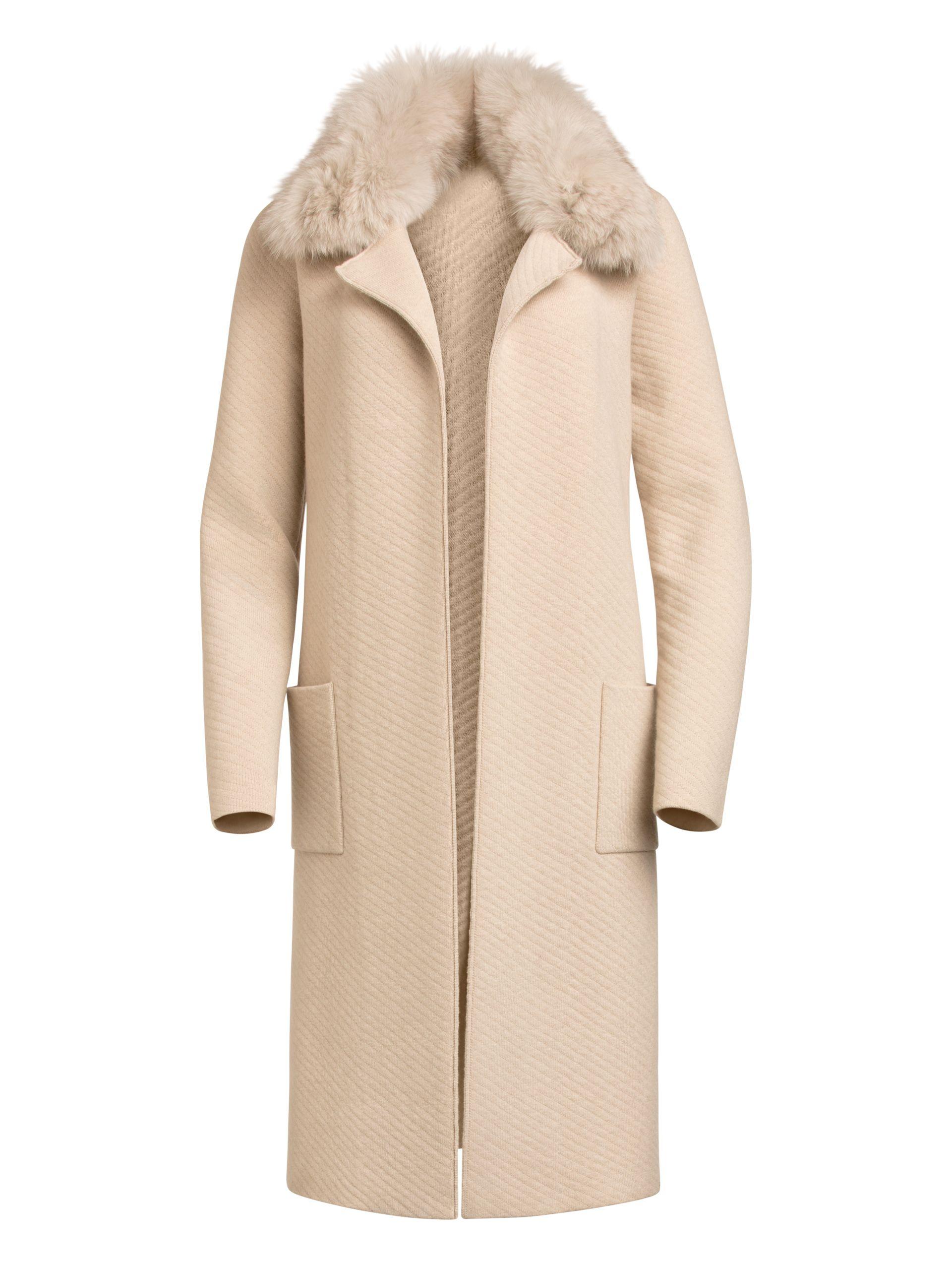 Saint John Quilted Twill Jacquard Knit Coat