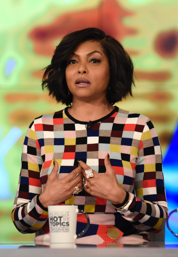 Taraji P. Henson wearing Saint John Fall 2019 color block print