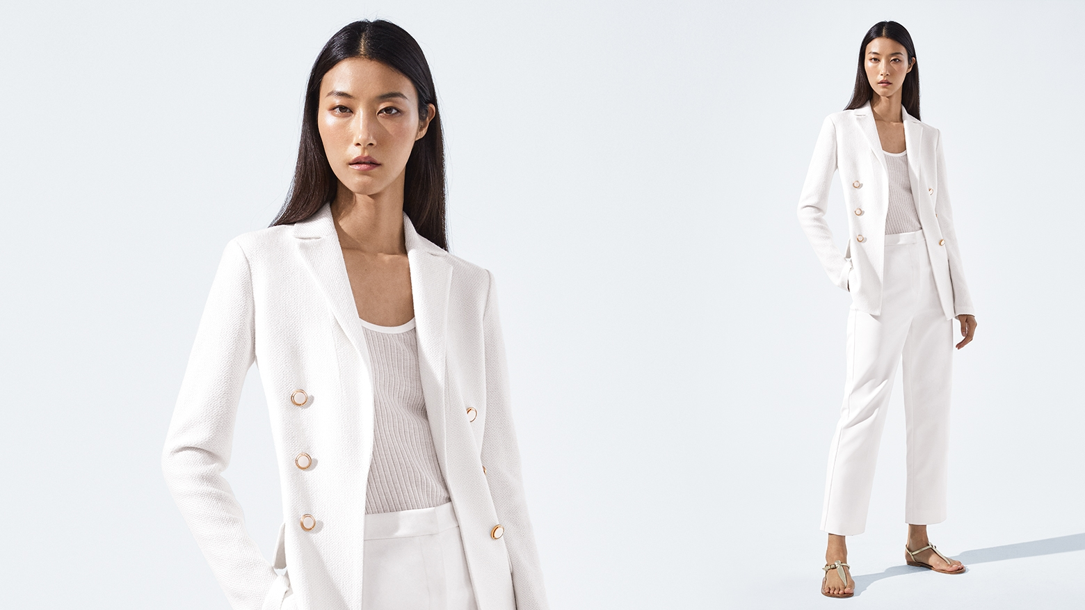 Model wearing all white Spring 2019 collection from Saint John